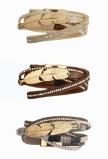 Bead and Feather Wrap Bracelet - Mocha