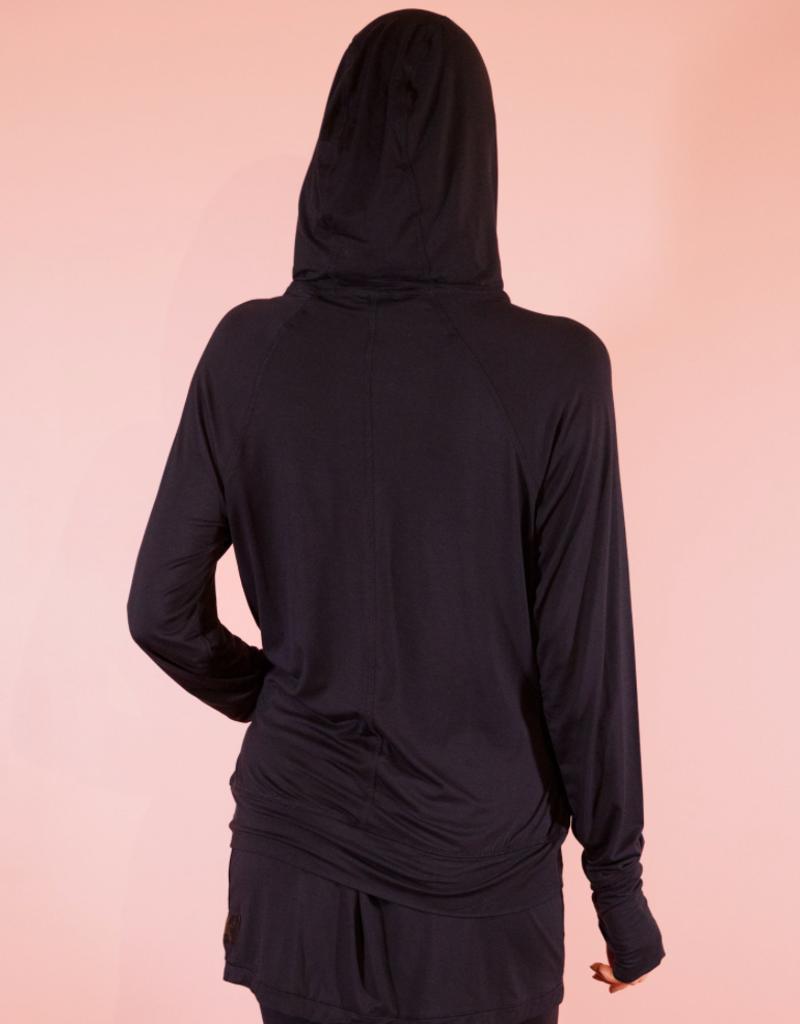 Bamboo Crossover Hoodie - Black - Medium