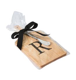 Initial Maple Cheese Board w/ Spreader-R