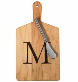 Initial Maple Cheese Board w/ Spreader-W