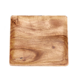 """Small Square Wood Salad Plate 7"""""""