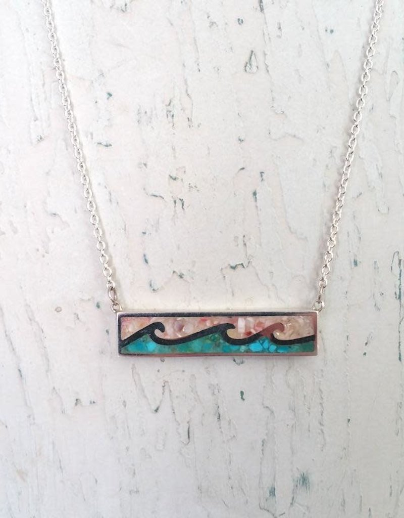 Dune Jewelry Wave Bar Necklace - Shells from Florida & Turquoise