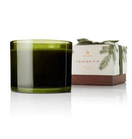 Thymes Frasier Fir Poured 3-Wick Candle - Green Glass - 17 oz