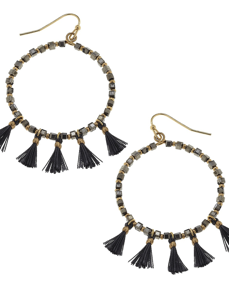 Beaded Hoop Tassel Earrings - Grey