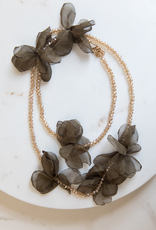 Olive w/ Champagne Crystal Bead Necklace