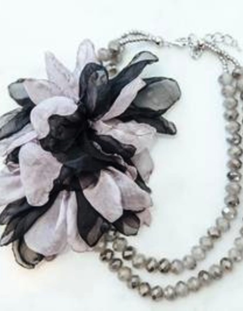 Double Strand Black/Gray Floral W/ Gray Double Bead Necklace