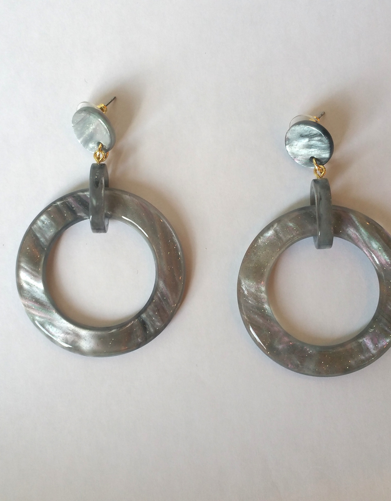 Gray and Pink Resin Oval Drop Earrings