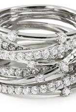 Crislu Entwined Platinum and CZ Ring - Size 5