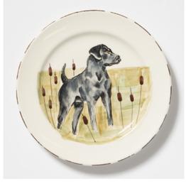 Vietri Wildlife Black Hunting Dog Salad Plate
