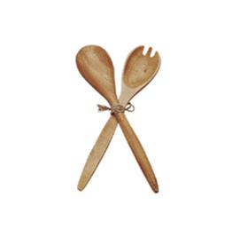 """Wooden Salad Fork & Spoon Serving Set - 12""""L"""