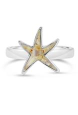 Dune Jewelry Delicate Starfish Sterling Ring - Amazonite Stone - Size 6