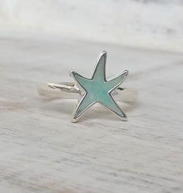 Dune Jewelry Delicate Starfish Sterling Ring - Amazonite Stone - Size 7