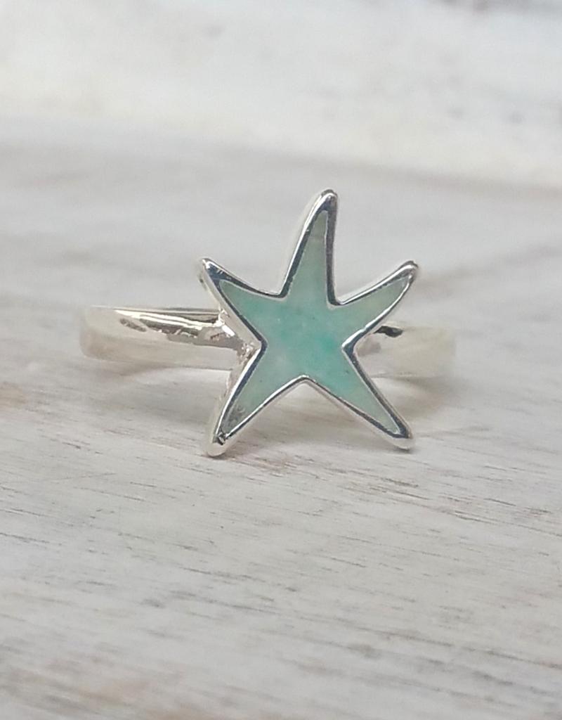 Dune Jewelry Delicate Starfish Sterling Ring - Amazonite Stone - Size 8