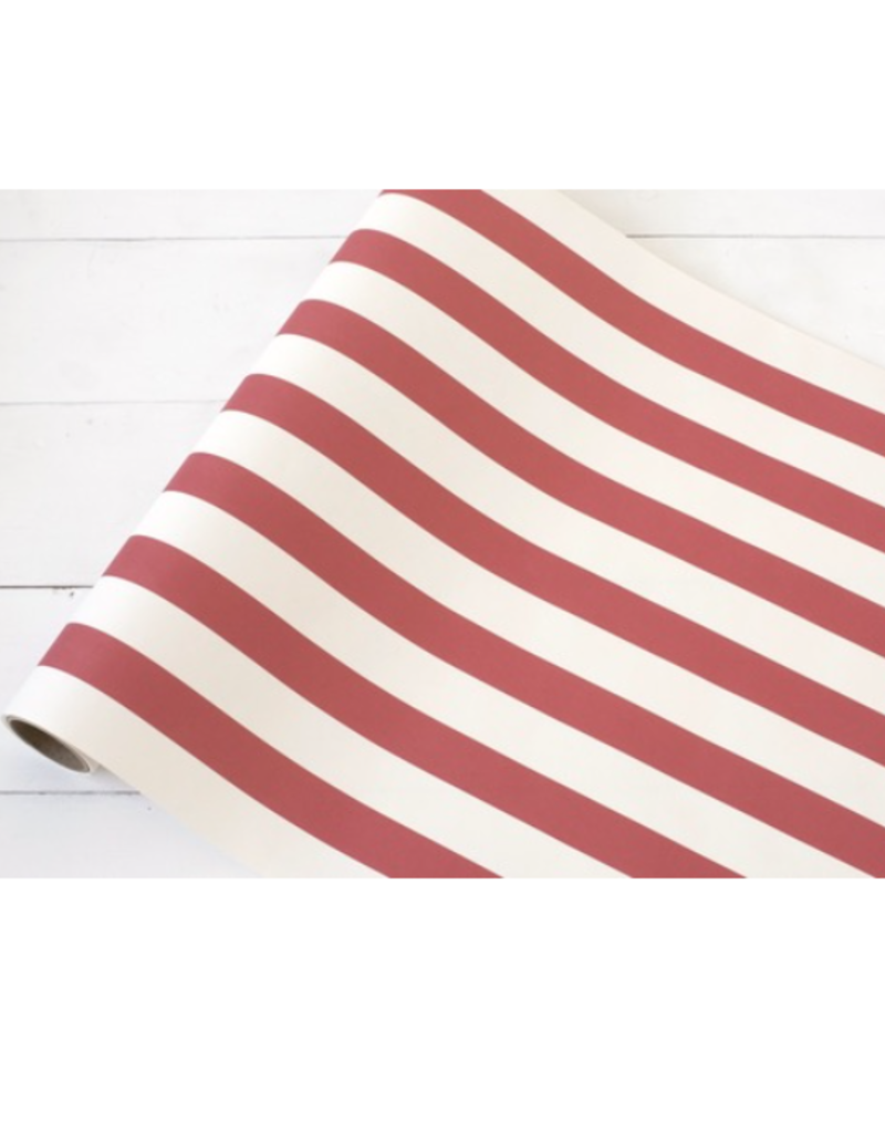 """Red Classic Stripe Paper Table Runner - 20""""x25'"""