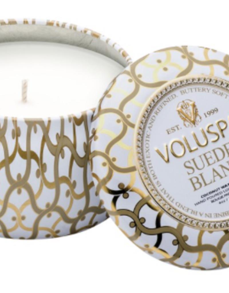 Voluspa Suede Blanc Mini Tin Decorative Candle  - 4 oz