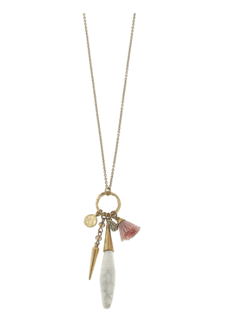 Briolette Gemstone Charm Bolo Necklace - White Howlite