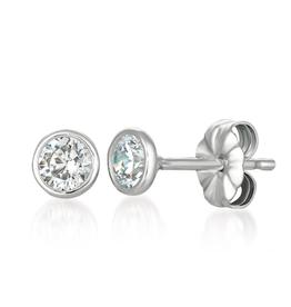 Crislu Solitaire Bezel Earrings -1 cttw
