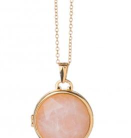 Spartina 449 Round Locket Necklace - Rose Quartz