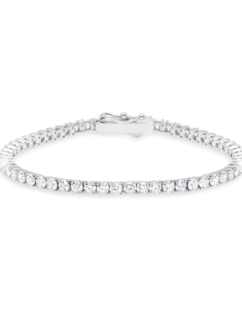 """Crislu Classic Medium Brilliant Tennis Bracelet Finished in Pure Platinum - 5.25 cttw - 7""""L"""