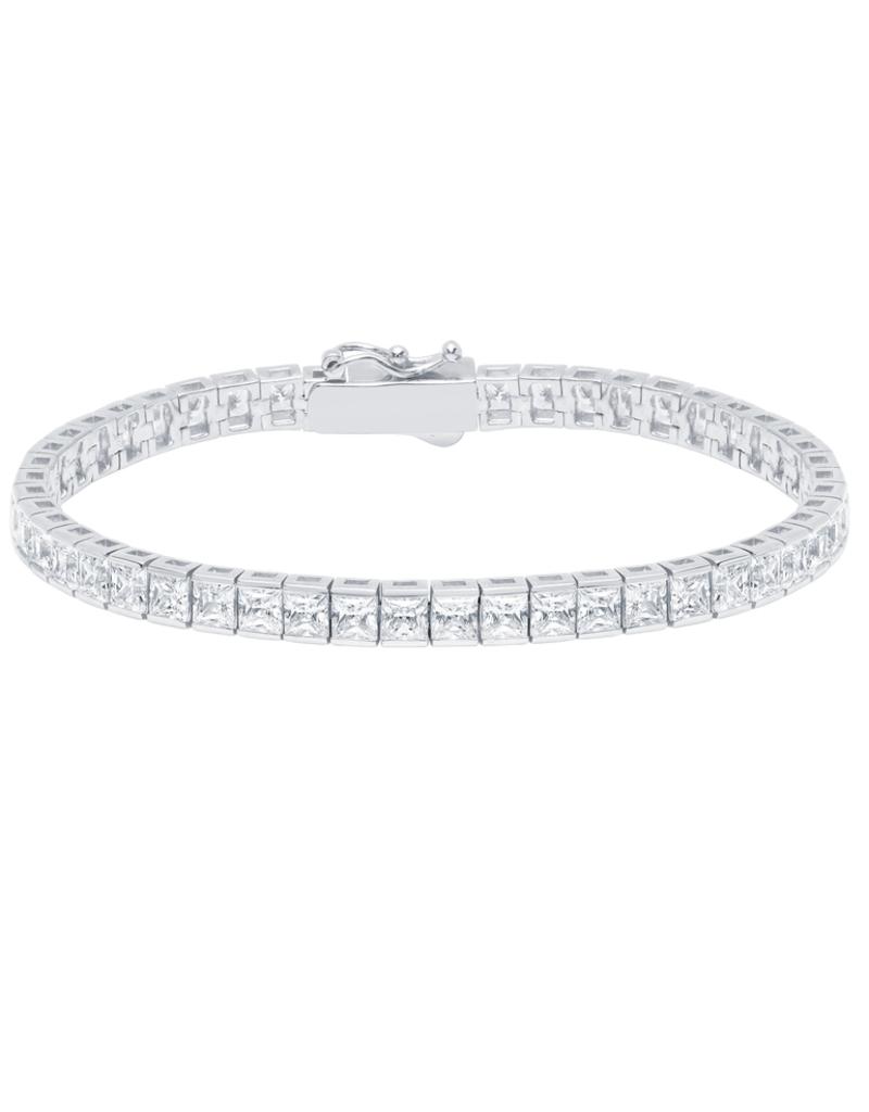 Crislu Classic Large Princess Tennis Bracelet - Latch Clasp - 12.50cttw