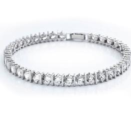 "Crislu Classic Bar Tennis Bracelet Finished in Pure Platinum - 8.55 cttw - 7"""