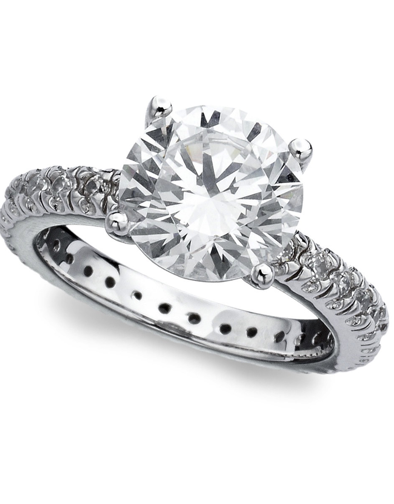 Crislu Classic Accented Solitaire Ring - Size 7 - 3.7cttw