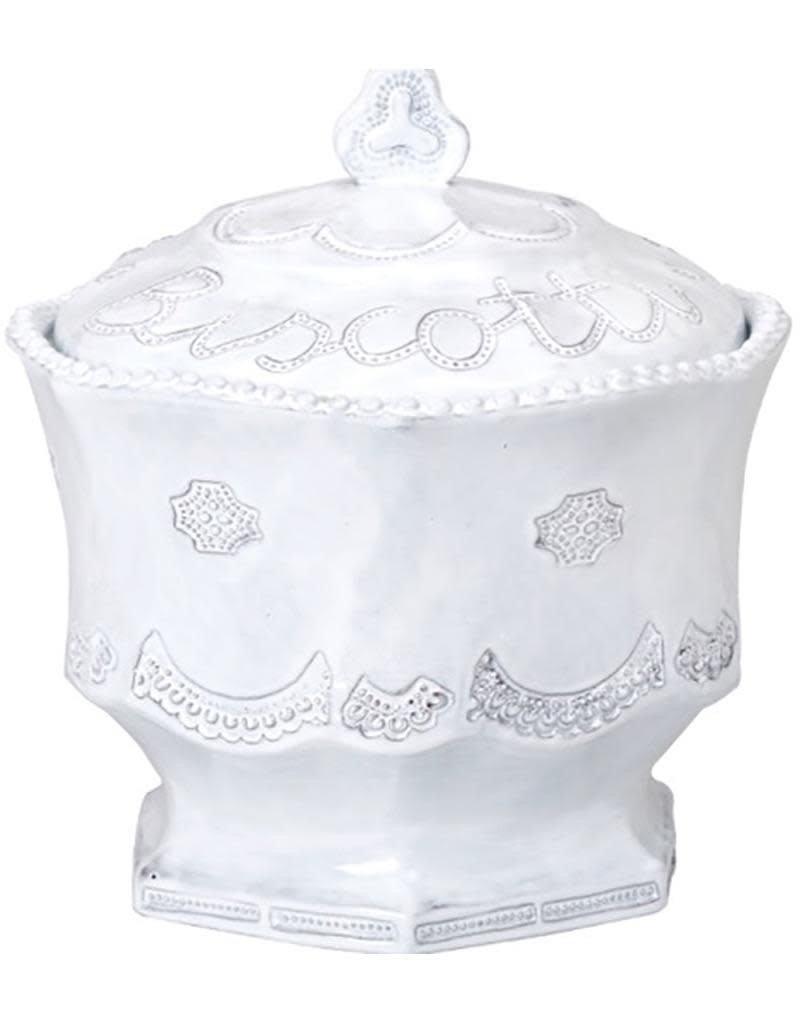 Vietri Incanto Lace Biscotti Jar - White
