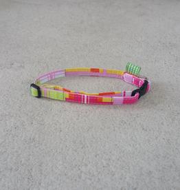 Hot Dog Collar - Pink Plaid - Small