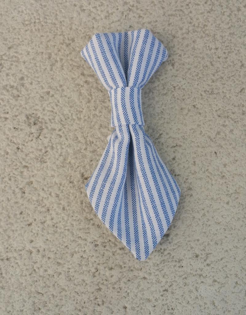 Hot Dog Necktie - Blue & White Stripe Searsucker - Small
