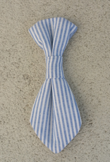 Hot Dog Necktie - Blue & White Stripe Searsucker - Medium