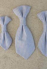 Hot Dog Necktie - Blue & White Stripe Searsucker - Large
