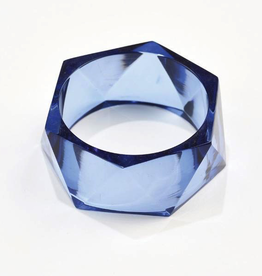 Lucite Faceted Bangle - Lapis
