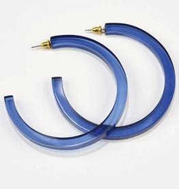 Lucite Hoop Earrings - Lapis