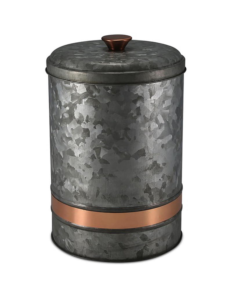 Galvanized Metal Canister with Copper Band - Large