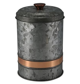 Galvanized Metal Canister with Copper Band - Medium