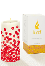 Lucid Candle Dotty Red on Natural Pillar Candle - 3x6