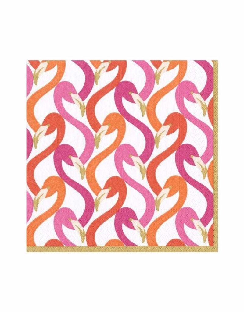 Caspari Flamingo Flock Fuchsia Beverage Cocktail Napkin - 20 Per Package