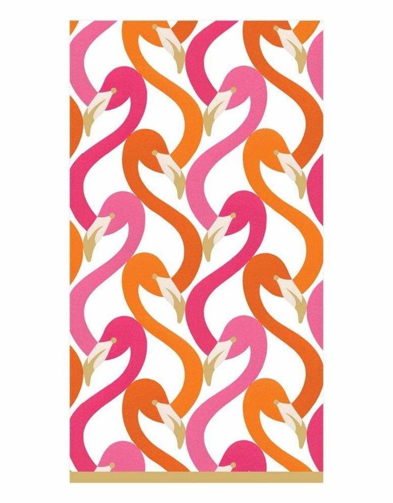 Caspari Flamingo Flock Fuchsia Guest Towel - 15 Per Package