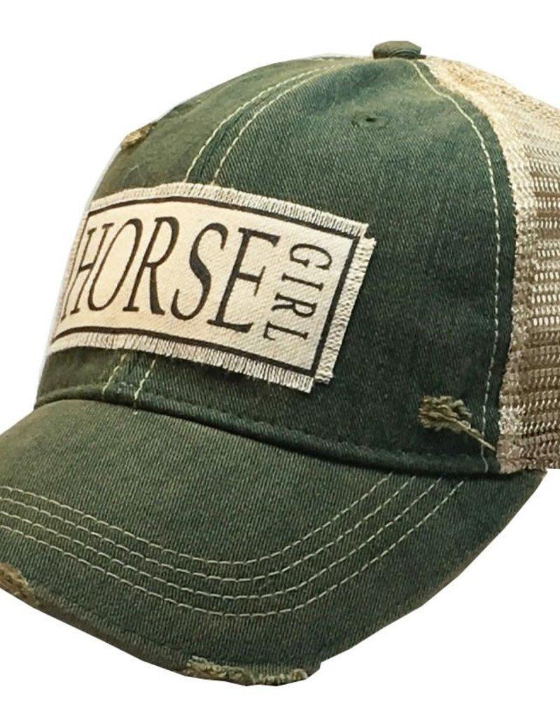Horse Girl Dark Green Distressed Trucker Hat
