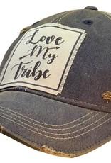 Love My Tribe Navy Blue Distressed Trucker Hat