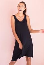 Bamboo V-Neck Nightshirt - Black - Large