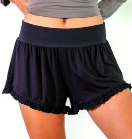 Bamboo Ruffle Shorts - Black - Medium