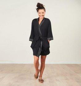 Bamboo Kimono Robe - Black - Large/X-Large