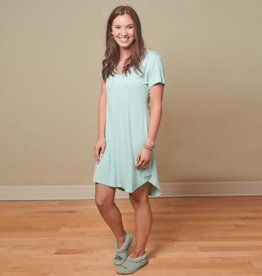 Bamboo Claire Short Sleeve Nightgown - Aqua - Small