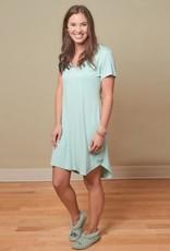 Bamboo Claire Short Sleeve Nightgown - Aqua - Medium