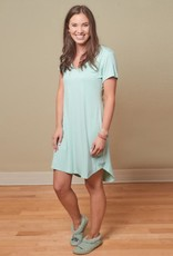 Bamboo Claire Short Sleeve Nightgown - Aqua - Large