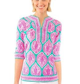 Gretchen Scott Cotton Split Neck Tunic - Indian Summer - Pink & Turquoise - Goddess