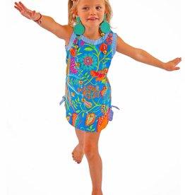 Gretchen Scott Designs Girls Cotton Dress - Hummingbird Heaven - Blue Multi - Size 4-6