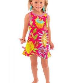 Gretchen Scott Girls Cotton Dress - Hummingbird Heaven - Pinks - 6-8