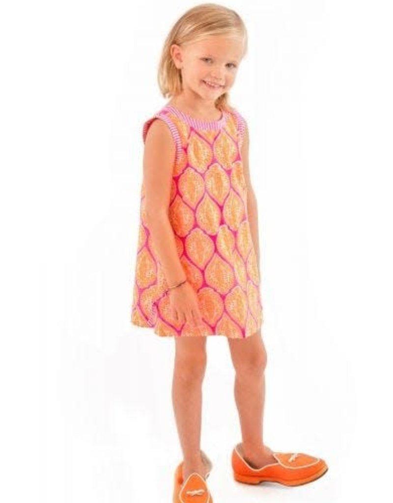 Gretchen Scott Designs Girls Cotton Dress - Indian Summer - Pink & Orange - Size 4-6
